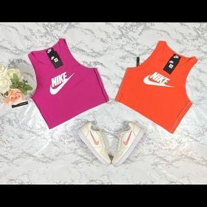 Woman pink & orange Nike Crop tank top size Medium